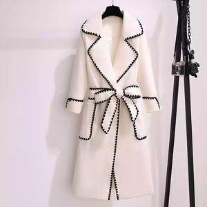 White Contrast Belted Wrap Front Felt Coat